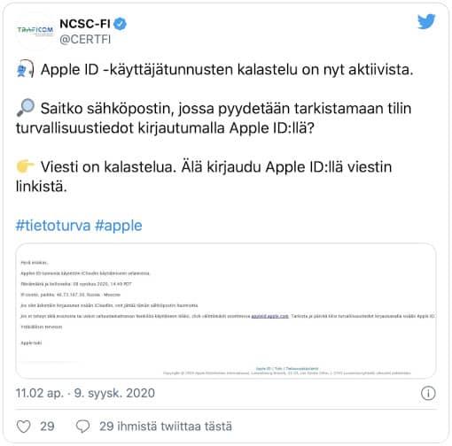 KTK twiitti Apple huijausviesti