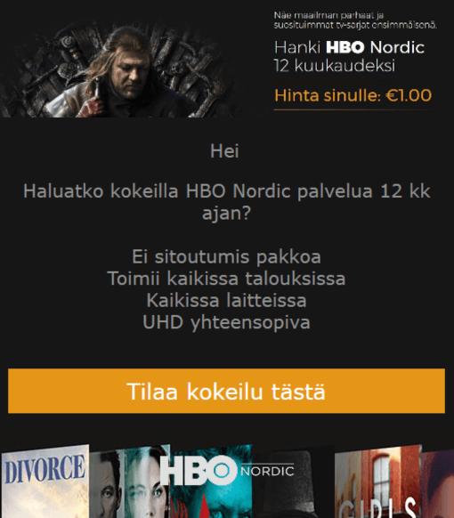HBO Nordic huijausviesti