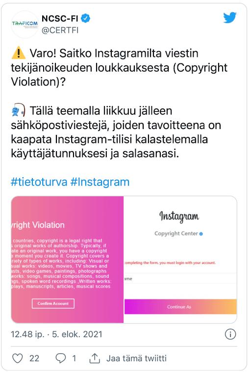 KTK tviitti Instagram huijausviesti