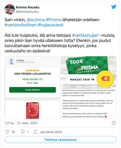 Kimmo Rousku twiitti Prisma